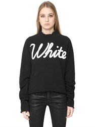 Off White Printed Cotton Sweatshirt