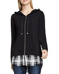 Vince Camuto Terry And Plaid Contrast Hoodie Rich Black