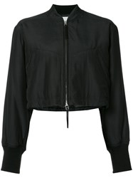 Alexander Wang T By Cropped Bomber Jacket Women Silk Cotton 2 Black