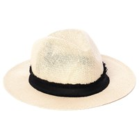 French Connection Riley Frayed Straw Fedora Hat Natural Black