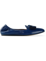 Lanvin Bow Detail Slippers Blue