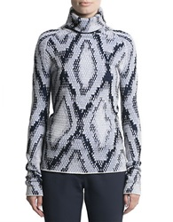 Pink Tartan Knit Turtleneck Sweater White Black