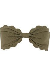 Marysia Antibes Scalloped Bandeau Bikini Top Army Green