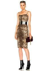 Dolce And Gabbana Printed Ruched Tank Dress In Animal Print Brown Neutrals Animal Print Brown Neutrals