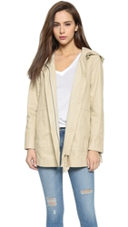 Joie Atout Coat With Leather Trim