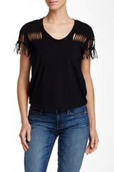 Fate Distressed Scoop Neck Tee Black