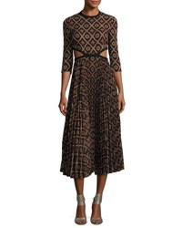 A.L.C. Holly Kaleidoscopic Cutout Waist Pleated Midi Dress Multi Pattern