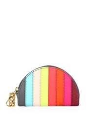 Sophie Hulme Rainbow Stripe Large Leather Zip Coin Purse Multi