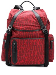 Ermenegildo Zegna Letter Printed Backpack Red