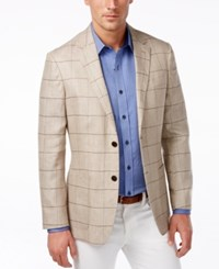 Tasso Elba Men's Classic Fit Windowpane Sport Coat Only At Macy's Taupe Combo