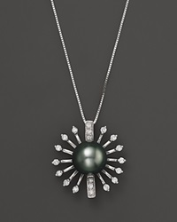 Bloomingdale's Diamond And Tahitian Pearl Pendant Necklace In 14K White Gold 18 Black