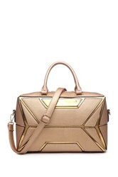 Segolene Paris Geometric Detail Vegan Leather Satchel Metallic
