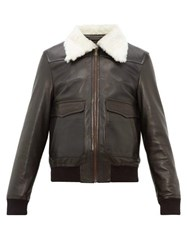 Wales Bonner Shearling Collar Leather Aviator Jacket Black Green
