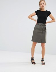 Warehouse Compact Cotton A Line Skirt Khaki Green
