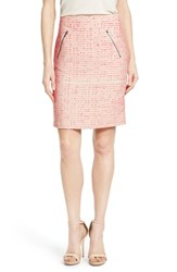 Women's Halogen Zip Pocket Tweed Pencil Skirt Ivory Coral Eyelash Pattern