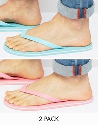Asos Flip Flops 2 Pack In Pink And Mint Save Multi