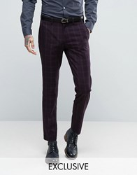 Only And Sons Skinny Suit Trouser In Check Purple Navy