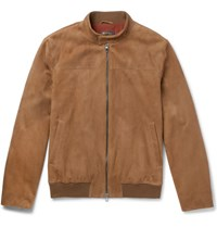 Loro Piana Rain System Suede Bomber Jacket Light Brown