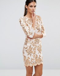 Tfnc Lace Sequin Midi Dress With 3 4 Sleeve Rose Gold On Nude White