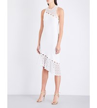 Jonathan Simkhai Rope Appliqua Lace And Crepe Dress White
