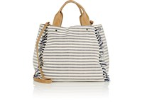 Deux Lux Striped Canvas Tote Bag Blue