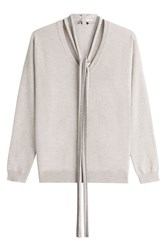 Brunello Cucinelli Cashmere Pullover With Embellished Scarf Beige