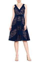 Harlyn Mixed Lace Fit And Flare Dress Navy