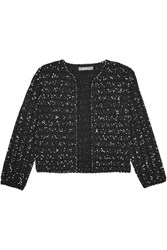 Lela Rose Cropped Boucle Tweed Jacket Black