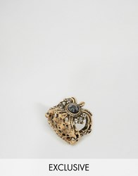 Asos Vintage Stone Ring Antique Gold