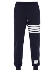 Thom Browne Striped Cotton Track Pants Navy