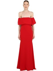 Alex Perry Off The Shoulder Long Crepe Satin Dress Red