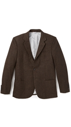 Brooklyn Tailors Tweed Herringbone Blazer Brown Tweed