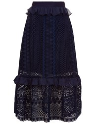 Perseverance Navy Guipere Lace Midi Skirt