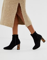 Pimkie Knitted Boots In Black With Tortoise Heels
