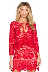 For Love And Lemons Gianna Crop Top Red