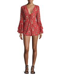 For Love And Lemons Pia Long Sleeve Floral Print Romper Red