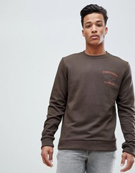 Esprit Sweatshirt With Paratrooper Print Khaki 200 Green