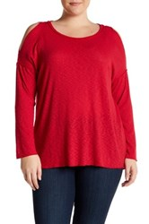 Bobeau Cold Shoulder Rib Thermal Plus Size Red