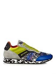 Etro Multi Print Leather And Suede Trainers