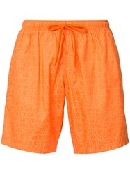 Moschino Logo Print Swim Shorts Yellow Orange