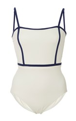 Solid And Striped Lexi Square Neck One Piece White