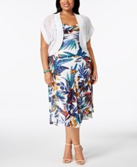 Robbie Bee Plus Size Printed Dress And Shrug White Multi