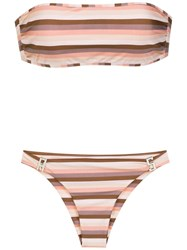 Amir Slama Striped Bikini Set Brown