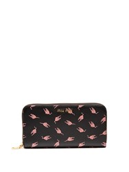 Miu Miu Cat Print Leather Continental Wallet Black Pink