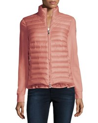 Moncler Cardigan Style Puffer With Ruffle Hem Coral