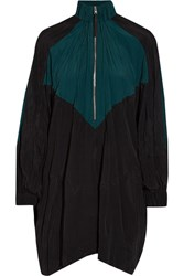 Marni Oversized Color Block Crinkled Shell Mini Dress Emerald