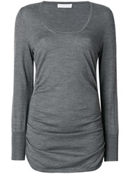 Le Tricot Perugia Ruched Sides Sweater Silk Cashmere Wool M Grey