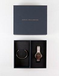 Daniel Wellington Mesh Watch And Bangle Gift Set In Rose Gold Rose Gold