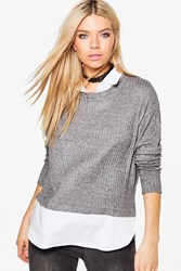Boohoo Emma Shirt And Jumper Charcoal