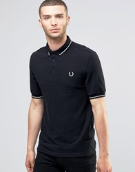 Fred Perry Laurel Wreath Polo Shirt Slub Pique Woven Collar In Slim Fit Black